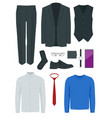 flat set classic mens clothes and accessories vector image