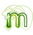 Green letter M vector image vector image
