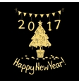 Happy New Year greeting card with spruce vector image vector image