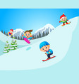 happy skier in high mountain vector image vector image