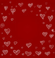 hearts background freehand drawing vector image vector image