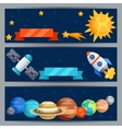 Horizontal banners with solar system and planets vector image vector image
