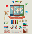 Infographic elements with three mobile phones vector image