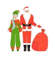 Isolated Santa Claus and Santa Helper vector image