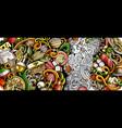 italian food hand drawn doodle banner cartoon vector image