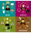 Jeweler shoemaker artist and priest professions vector image vector image