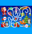 kids labyrinth maze with christmas characters vector image