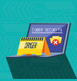 laptop computer with set icons cyber security vector image vector image