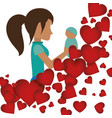mom holding her baby with heart decoration vector image vector image