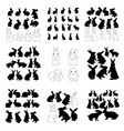 rabbit and hare easter collection - silhouette vector image vector image