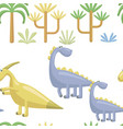 seamless pattern cute dinosaurs on a white vector image