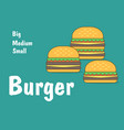 set burger in flat style burger big medium small vector image vector image