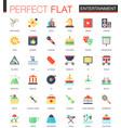 set flat entertainment icons vector image