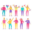 set of people celebrating birthday party men women vector image