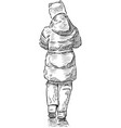sketch little girl in jacket with hood going vector image vector image