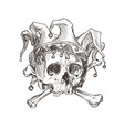 sketch of the skull of a joker in a comic cap vector image