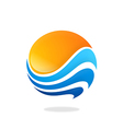 sphere round wave water sun abstract logo vector image