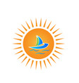 sun and boat beach vacation travel concept logo vector image vector image