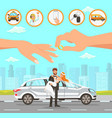 taxi and driver services at wedding vector image vector image