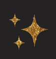 three golden glitter silhouette star flat icon vector image vector image
