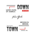 typography downtown new york vector image vector image