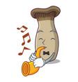 with trumpet king trumpet mushroom mascot cartoon vector image