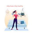 young pretty woman does sport exercises with vector image vector image