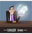 cartoon businessmen with earth vector image