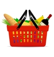 A red plastic shopping basket with groceries vector image