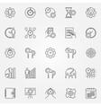 Productivity line icons set vector image