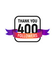 400 followers number with color bright ribbon vector image vector image