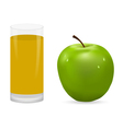 apple and glass of juice vector image
