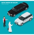 Arab businessman chooses Luxury car Flat 3d vector image vector image