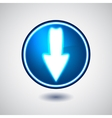 Blue illuminated download button vector image vector image