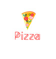 bright delicious slice pizza vector image