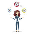 business woman holding time vector image vector image