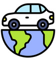 car on half earth icon earth day related vector image