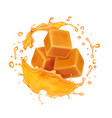 caramel candies in caramel syrup or honey splash vector image