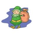 Christmas theme with elf cartoon vector image vector image