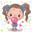 cute cartoon girl with bubble gum vector image