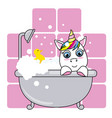 cute unicorn in the bathroom on a pink background vector image vector image