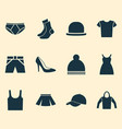 dress icons set collection of stylish apparel vector image vector image