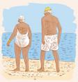 elderly spouses on the beach vector image