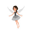 fairy with big shiny eyes in flying action cute vector image vector image