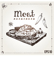 hand drawn grilled meat steak poster vector image