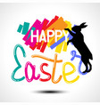happy easter colorful lettering with a bunny vector image