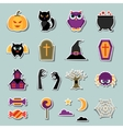 Happy halloween sticker set in flat design style vector image vector image