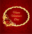 Happy Valentine day frame hearts with gold leaves vector image vector image
