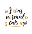 i was normal 3 cats ago handwritten sign modern vector image vector image