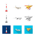 isolated object of plane and transport icon set vector image